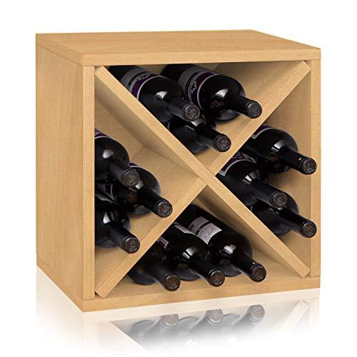 Way Basics Stackable Blox Wine Cube Storage 12 Bottles, Natural