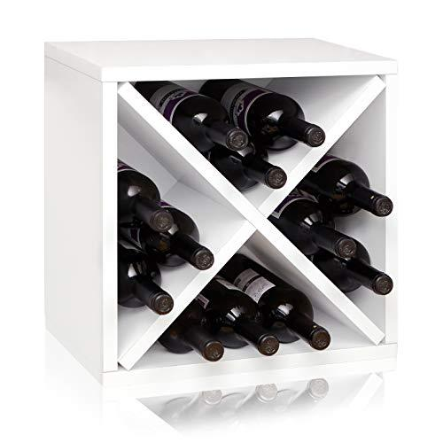 Way Basics Stackable Blox Wine Cube Storage 12 Bottles, White - [WB-WINE-12-WE]