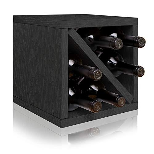 Way Basics Stackable Blox Wine Cube Storage 6 Bottles, Black