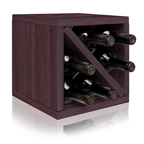 Way Basics Stackable Blox Wine Cube Storage 6 Bottles, Espresso