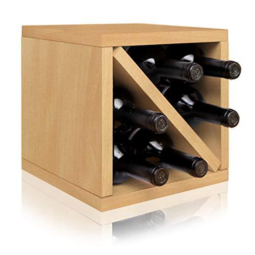 Way Basics Stackable Blox Wine Cube Storage 6 Bottles, Natural