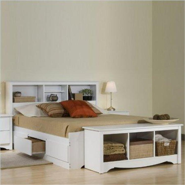Monterey White Queen Bookcase Platform Storage Bed