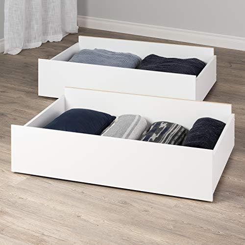 Prepac Select Storage Drawers on Wheels, White - Set of 2