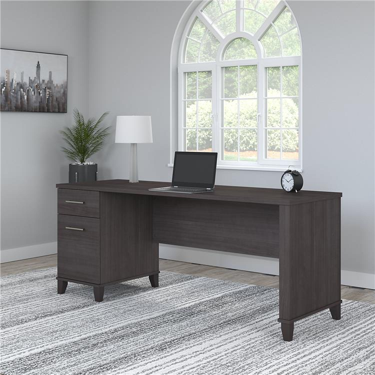Bush Furniture Somerset 72W Office Desk with Drawers in Storm Gray