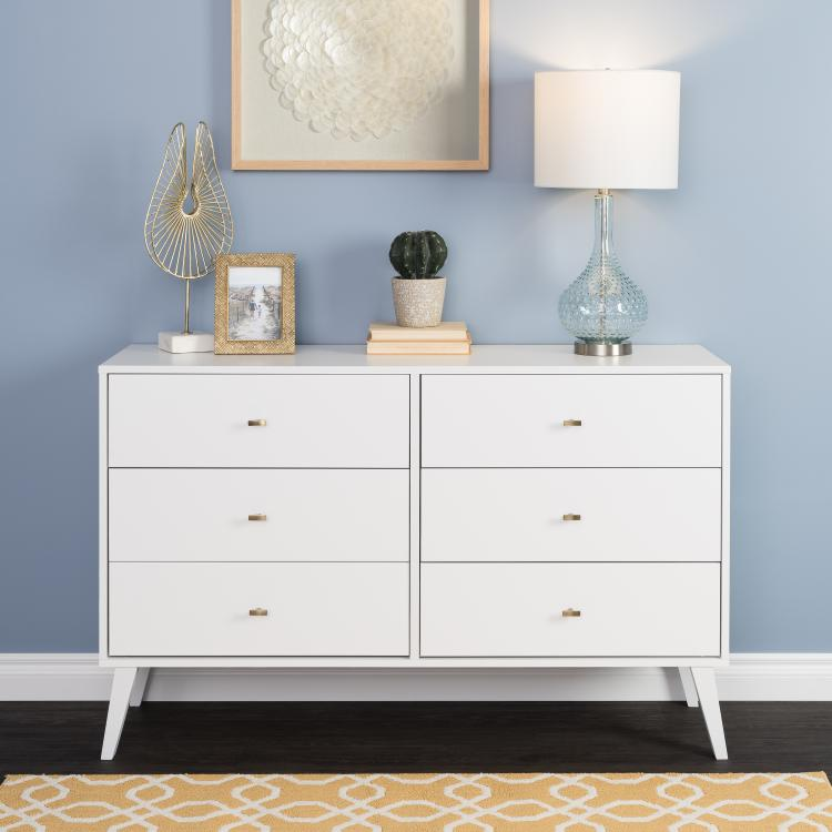 Prepac Milo Mid Century Modern  6-drawer Dresser