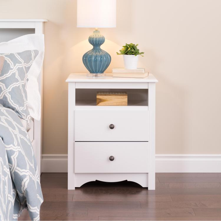 Monterey Tall 2 Drawer Nightstand With Open Shelf