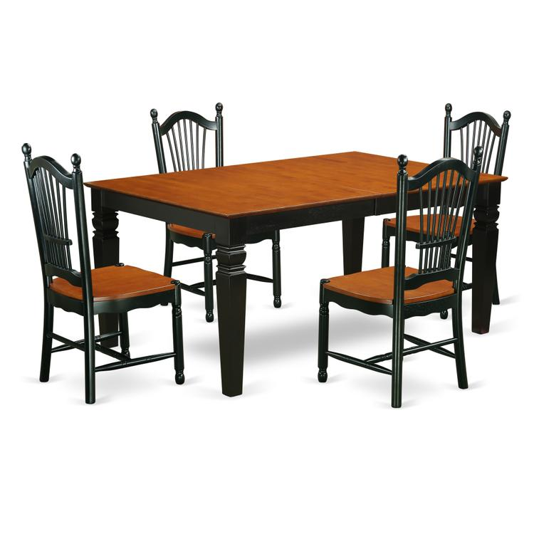 East West Furniture WEDO5-BCH-W 5 Piece Dinette Set With One Weston Dining Room Table And 4 Solid Faux Leather Seat Dining Area Chairs Finished In A Distinctive Black and Cherry Color.