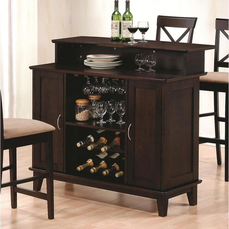 Hyde Rich Cappuccino Bar with Wine Storage - Wildon Home - WH-100218