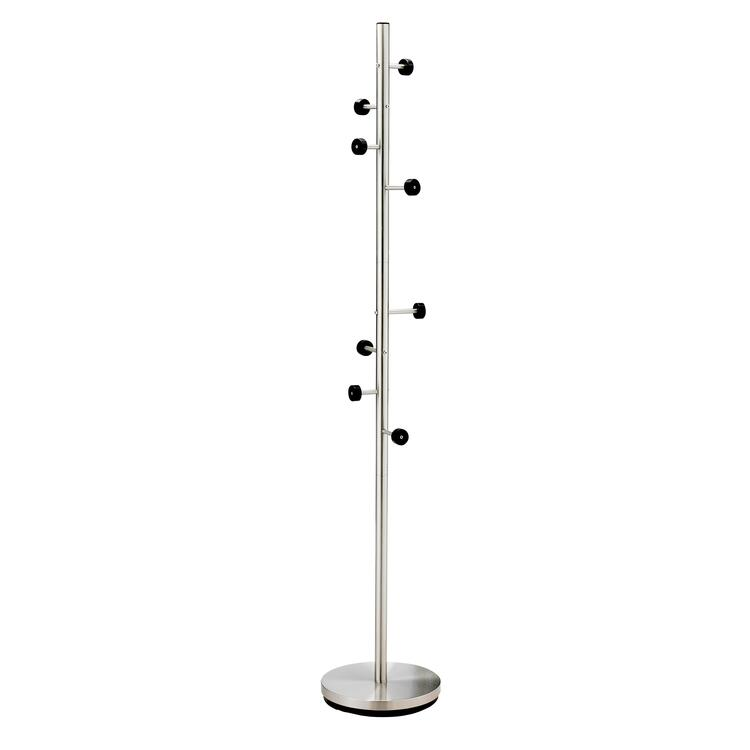 Swizzle Coat Rack - Satin Steel wBlack