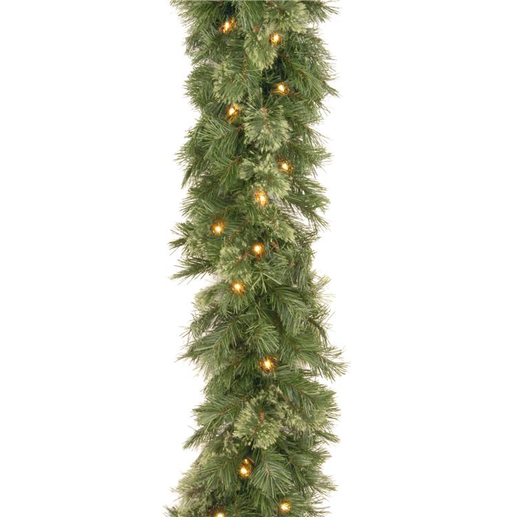 National Tree 9 ft Wispy Willow Garland with Clear Lights
