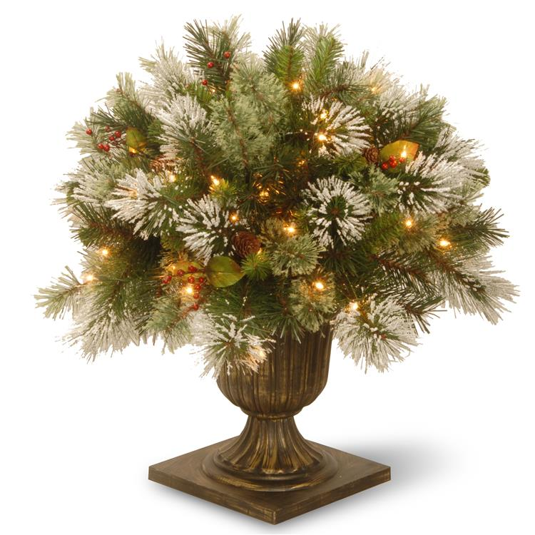 National Tree 24 inch Wintry Pine(R) Porch Bush with Clear Lights