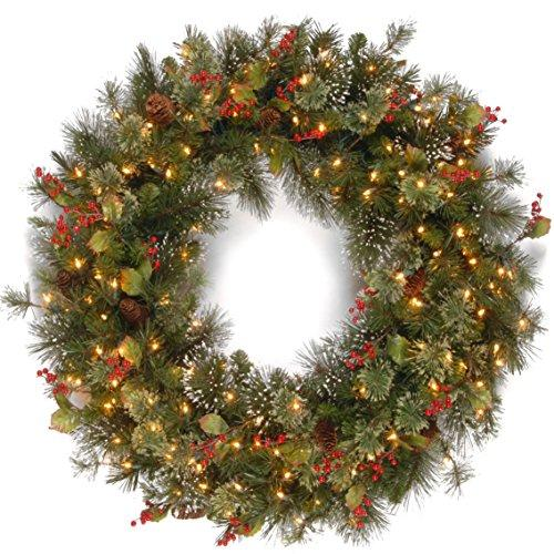 National Tree Wintry Pine Wreath with Clear Lights