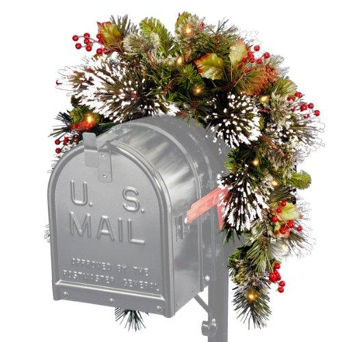 National Tree Wintry Pine Mailbox Swag with Battery Operated Warm White LED Lights