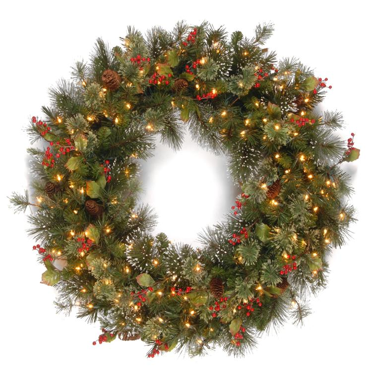 National Tree Wintry Pine(R) Wreath with Clear Lights [Item # WP1-300-48W]