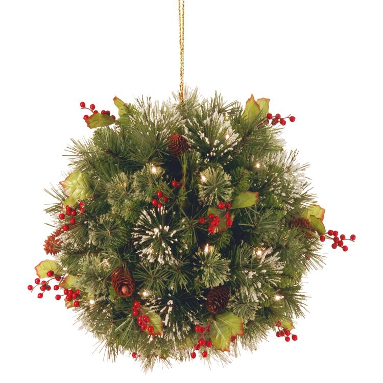 National Tree 16 inch Wintry Pine(R) Kissing Ball with Battery Operated Warm White LED Lights