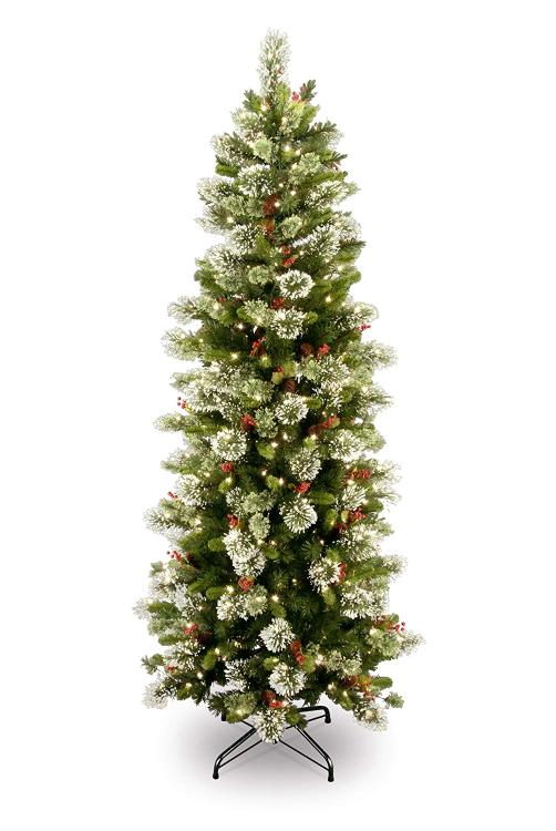 National Tree Wintry Pine Slim Tree with Clear Lights