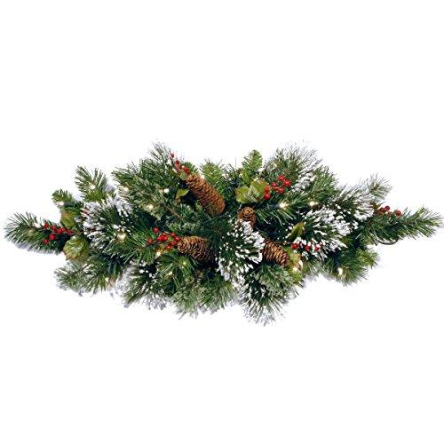 National Tree Wintry Pine Centerpiece with Battery Operated Warm White LED Lights