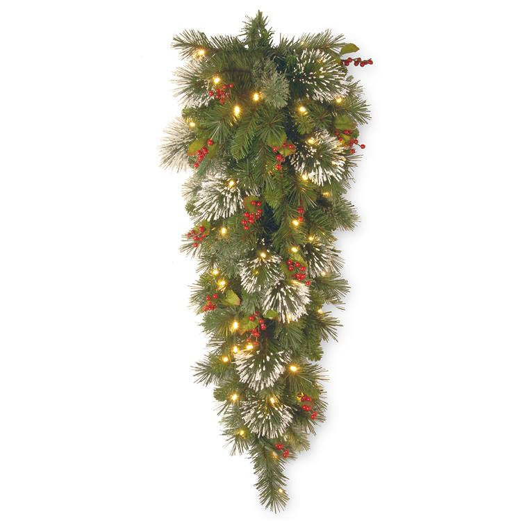 National Tree 48 inch Wintry Pine(R) Teardrop with Battery Operated Warm White LED Lights