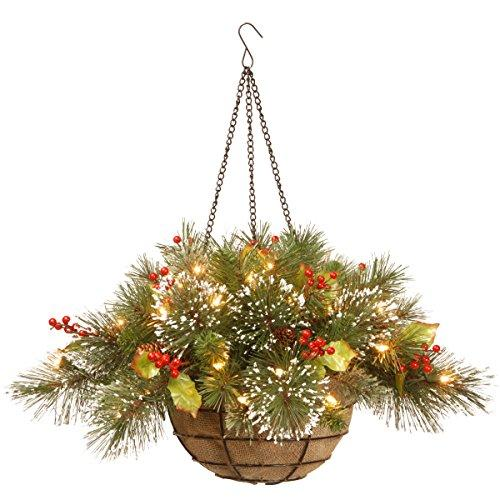 Wintry Pine Hanging Basket with Battery Operated Warm White LED Lights