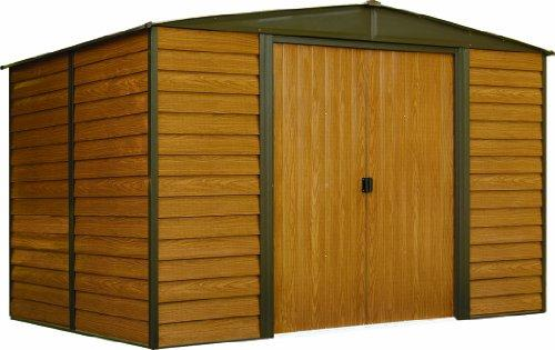 Arrow Sheds Woodridge, 10x6, Electro Galvanized Steel, Coffee / Woodgrain, Low Gable, 71.3 Wall Height, Sliding Doors [Item # WR106]
