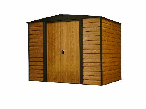 Arrow Sheds Woodridge, 8x6, Electro Galvanized Steel, Coffee / Woodgrain, Low Gable, 71.3