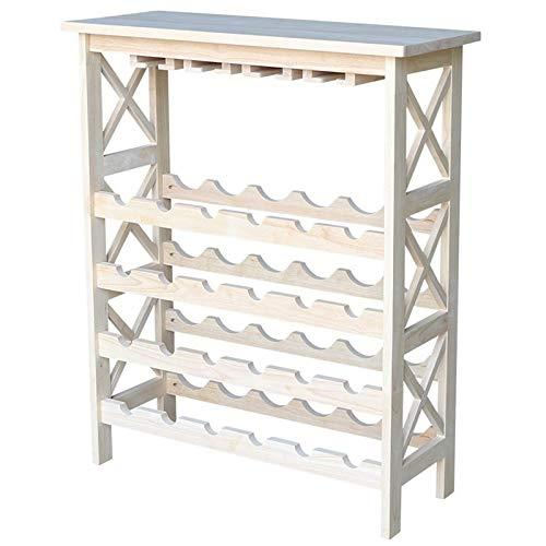 International Concepts Wine Storage with Glass Holder - Unfinished