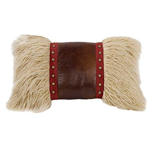 Mongolian Fur pillow with faux leather and studs, 12