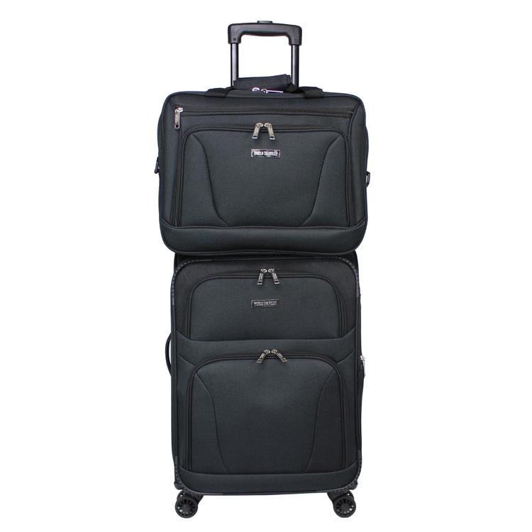 World Traveler Embarque Collection Lightweight 2-PC Carry-On Luggage Set - Black
