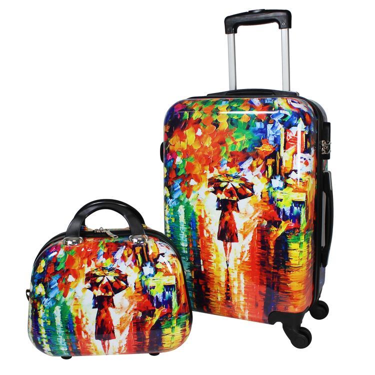 World Traveler 2-Piece Carry-On Hardside Spinner Luggage Set - Paris Nights
