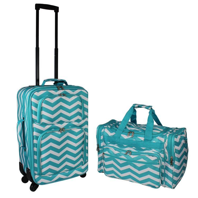 World Traveler 2-PC Carry-On Expandable Spinner Luggage Set - Blue White Chevron
