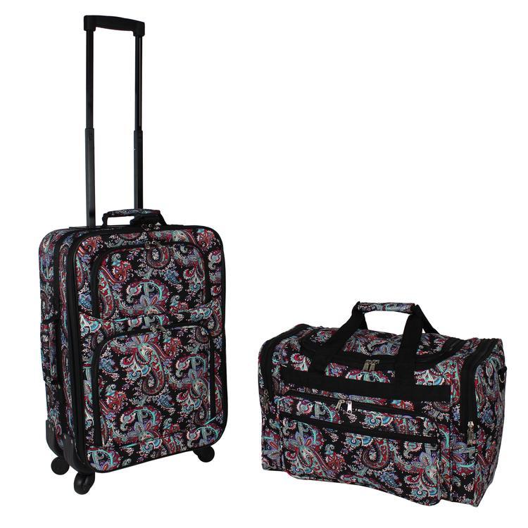 World Traveler 2-Piece Carry-On Expandable Spinner Luggage Set - Paisley