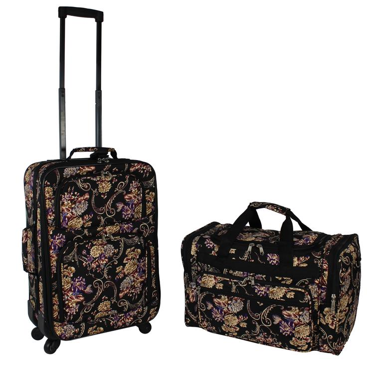 World Traveler 2-Piece Carry-On Expandable Spinner Luggage Set - Classic Floral