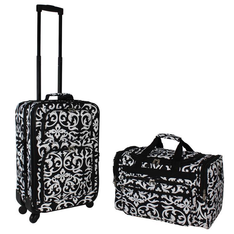 World Traveler 2-PC Carry-On Expandable Spinner Luggage Set - Black Trim Damask