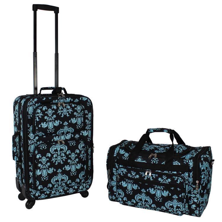 World Traveler 2-PC Carry-On Expandable Spinner Luggage Set - Black Blue Damask