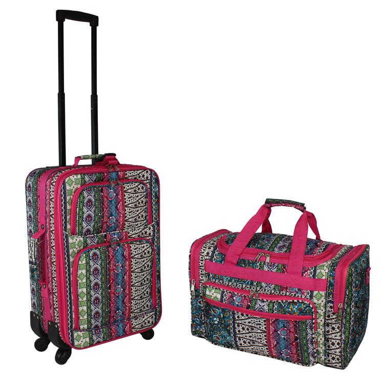 World Traveler 2-Piece Carry-On Expandable Spinner Luggage Set - Bohemian