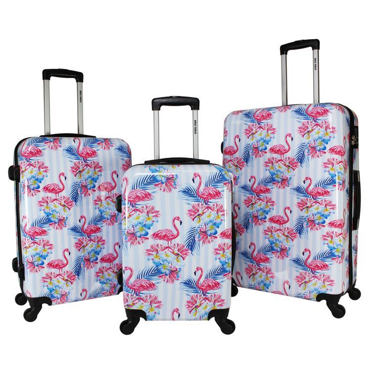 World Traveler Flamingo 3-Piece Hardside Spinner Combination Lock Luggage Set
