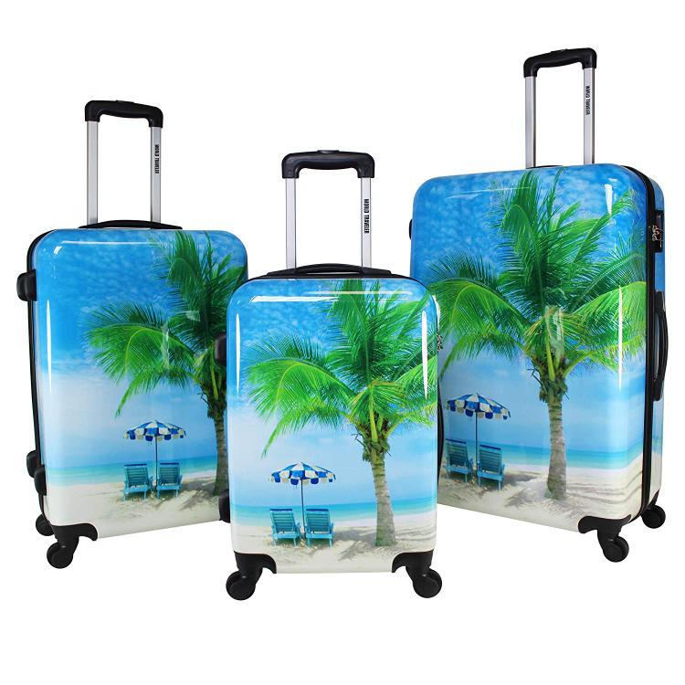 World Traveler Palm Tree Hardside 3-Piece Spinner Luggage Set