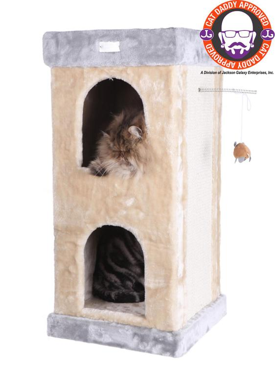 Armarkat Model X8303 Premium Cat Tree in Beige, Jackson Galaxy Approved, Multi Levels with Condo, Rope Swing, Ladder, and Two Perches