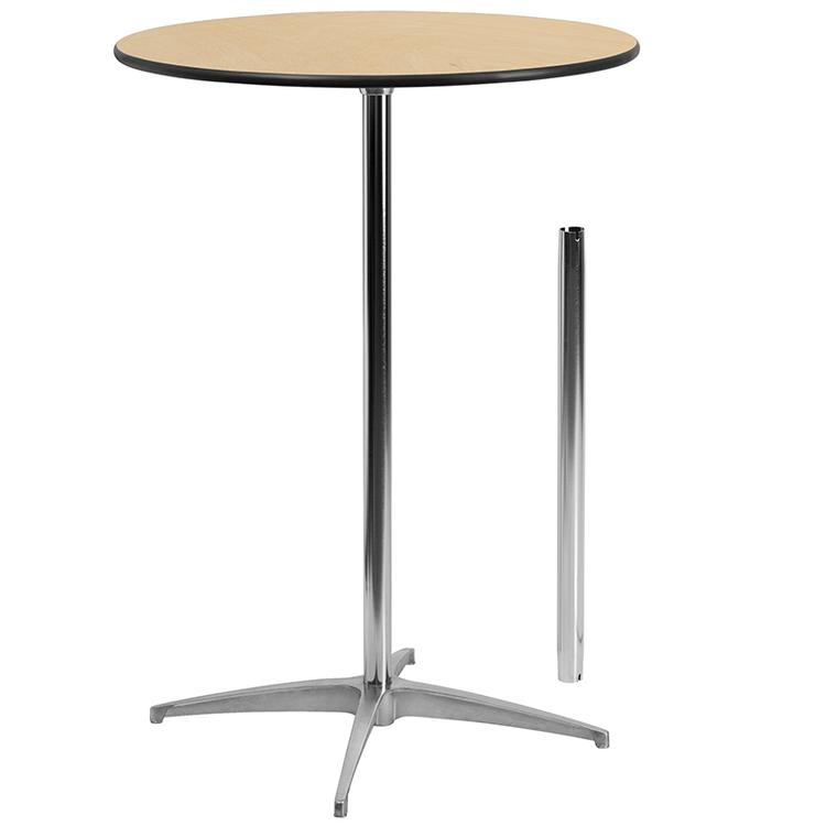 Round Wood Cocktail Table With 30'' And 42'' Columns
