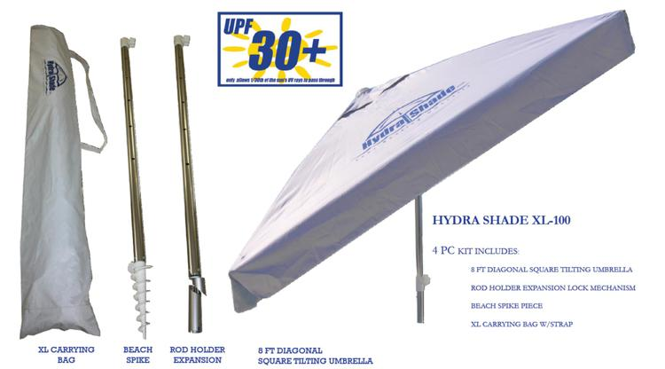 Hydra Shade 8' Square Boating & Beach Umbrella 4 Piece Kit