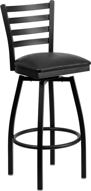 Hercules Series Ladder Back Swivel Barstool - Seat