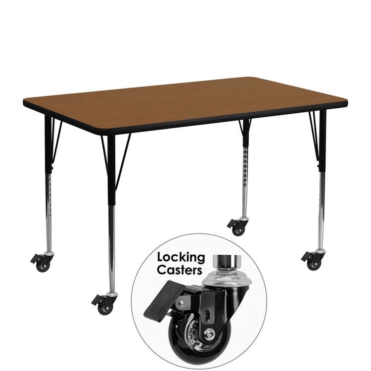 Flash Furniture Mobile Rectangular Hp Activity Table - Standard Height Adjustable Legs [Item # XU-A2448-REC-OAK-H-A-CAS-GG]