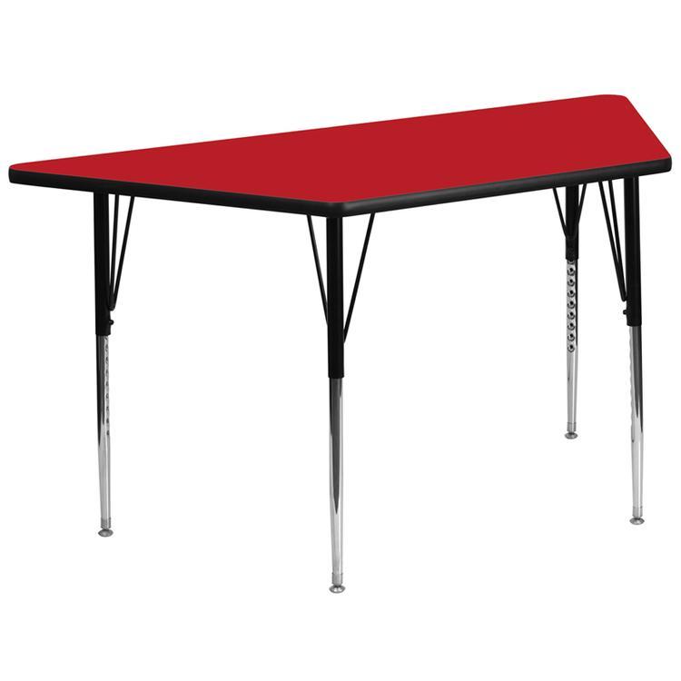 Trapezoid Hp Laminate Activity Table - Standard Height Adjustable Legs