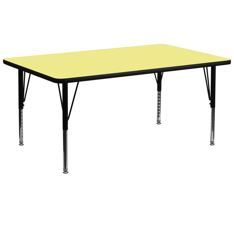 Rectangular Thermal Laminate Activity Table - Height Adjustable Short Legs