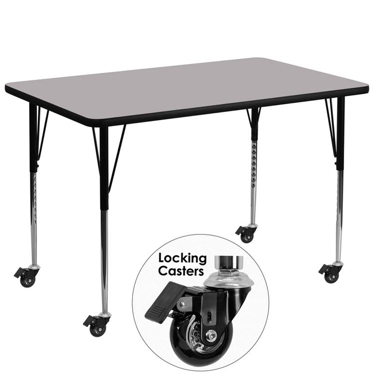Mobile Rectangular Thermal Activity Table - Standard Height Adjustable Legs