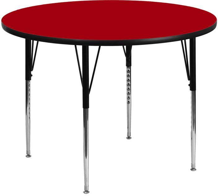 Round Thermal Laminate Activity Table - Standard Height Adjustable Legs