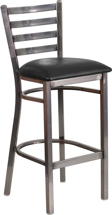 Hercules Series Clear Ladder Back Restaurant Barstool - Seat