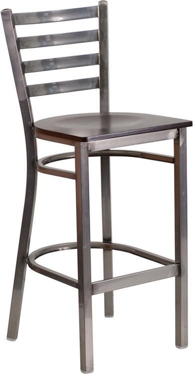 Hercules Series Clear Ladder Back Restaurant Barstool - Seat
