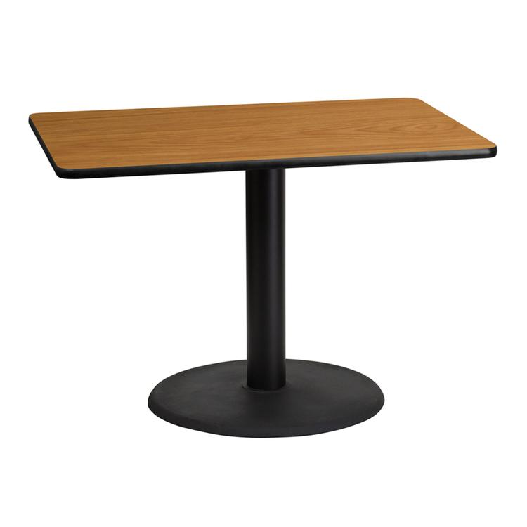 Rectangular Table Top with Round Table Height Bases