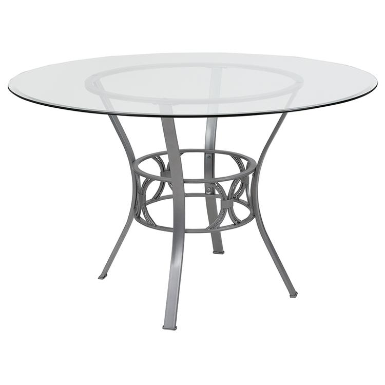 Flash Furniture Carlisle 48'' Round Glass Dining Table with Black Metal Frame